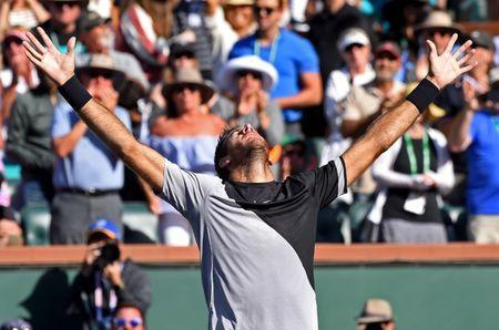 Mar 18, 2018; Indian Wells, CA, USA; Juan Martin Del Potro celebrates after defeating Roger Federer (not pictured) in the men's finals in the BNP Paribas Open at the Indian Wells Tennis Garden. Mandatory Credit: Jayne Kamin-Oncea-USA TODAY Sports