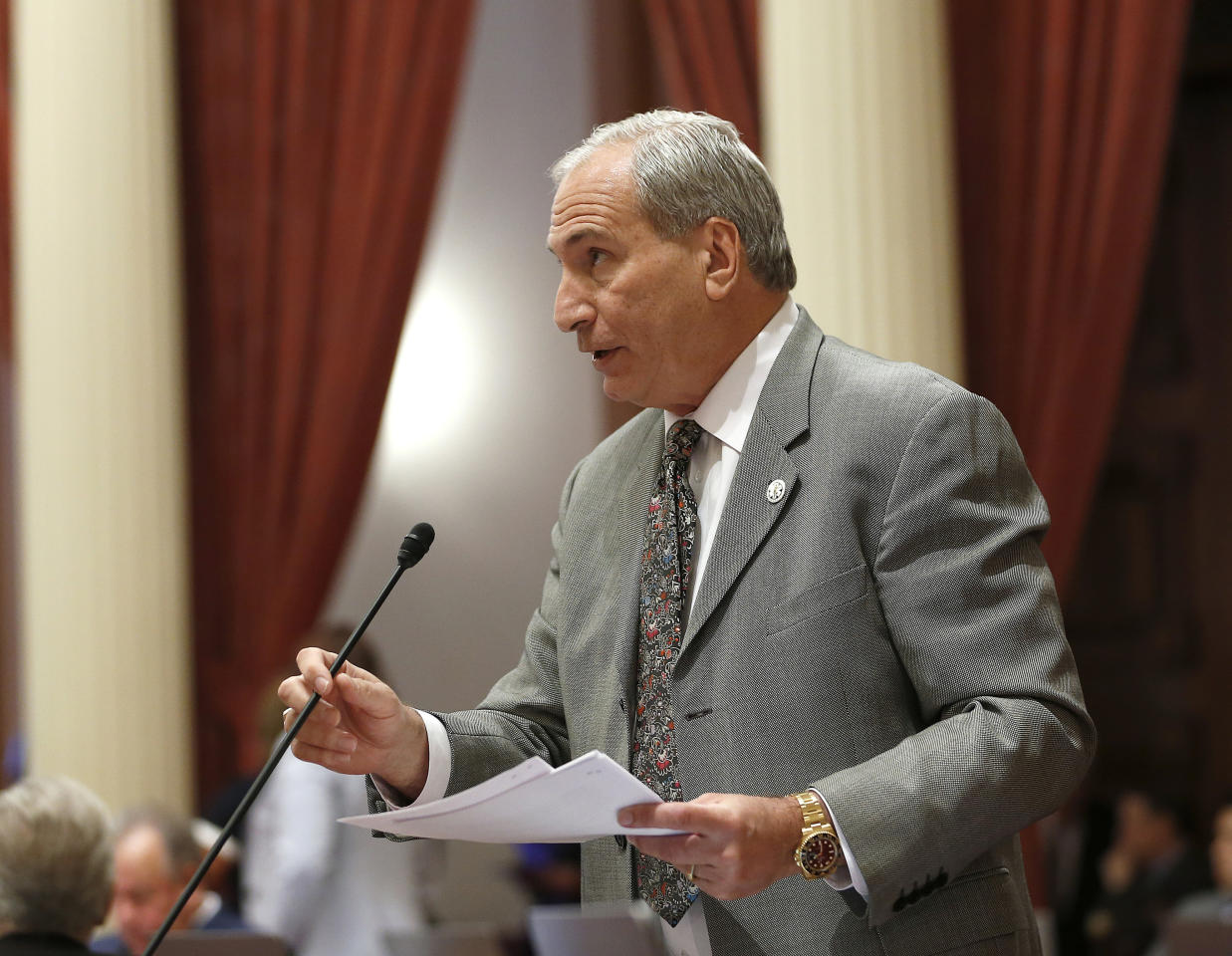State Sen. Jeff Stone, R-Temecula, addresses the state Senate, Monday, May 20, 2019, in Sacramento, Calif. Stone is among those Republicans opposing proposals by Gov. Gavin Newsom and Sen. Maria Elena Durazo, D-Los Angeles, to expand California's Medicaid program, known as Medi-Cal to undocumented immigrants. If approved, Newsom's plan would offer government-funded health care benefits to immigrant adults ages 19 to 25 who are living in the country illegally. Durazo has proposed a bill to expand that further to include seniors age 65 and older (AP Photo/Rich Pedroncelli)