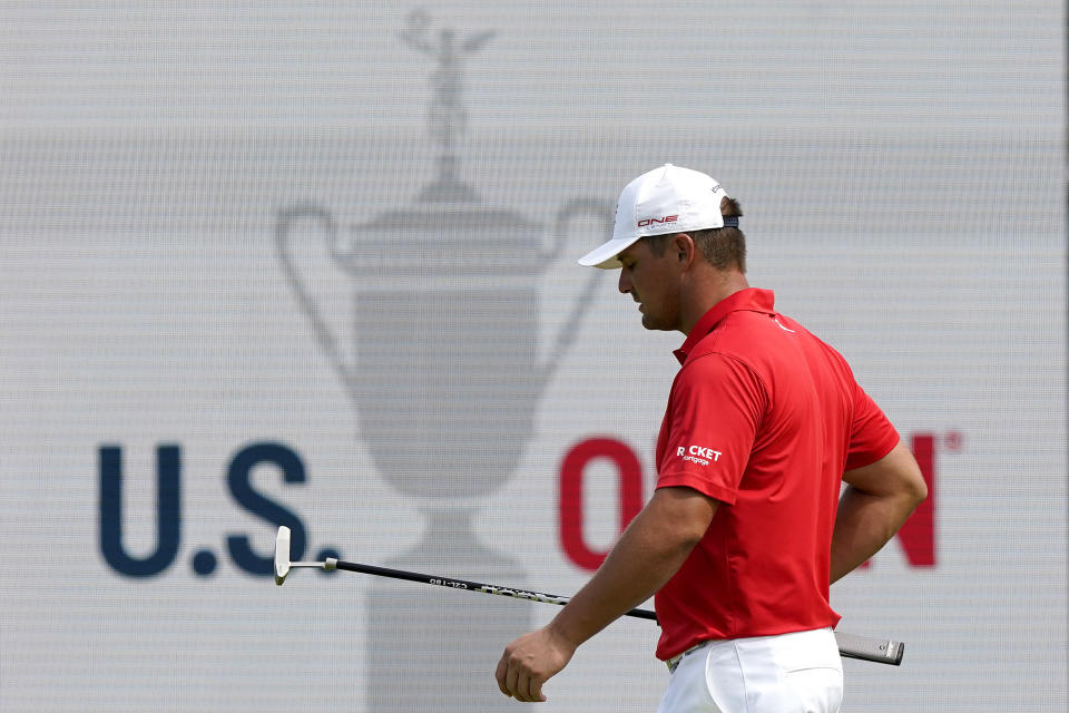 Bryson DeChambeau plays a shot on the 17th green during a practice round of the U.S. Open Golf Championship, Tuesday, June 15, 2021, at Torrey Pines Golf Course in San Diego. (AP Photo/Marcio Jose Sanchez)