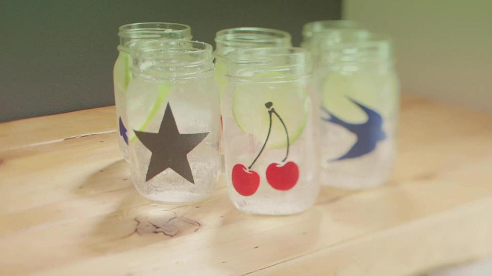 Make a Signature Drinking Glass with Stenciled Mason Jars