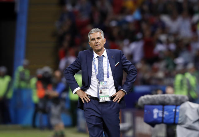 Iran head coach Carlos Queiroz looks on during the group B match between Iran and Spain at the 2018 soccer World Cup in the Kazan Arena in Kazan, Russia, Wednesday, June 20, 2018. (AP Photo/Manu Fernandez)