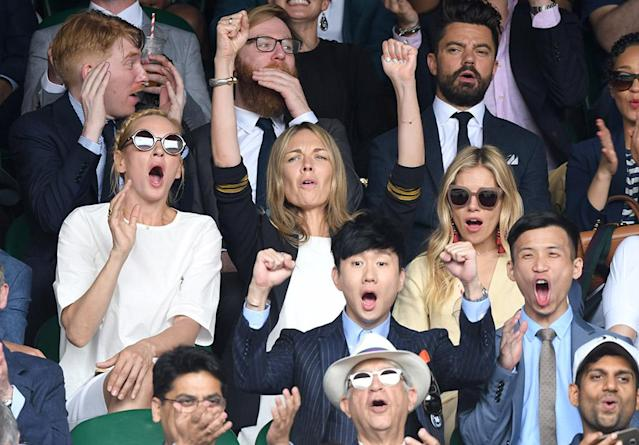 <p>The actresses took in the action at the men's singles final at Wimbledon in London. They were there to watch Roger Federer take home a record eighth title at the tourney. (Photo: Karwai Tang/WireImage) </p>