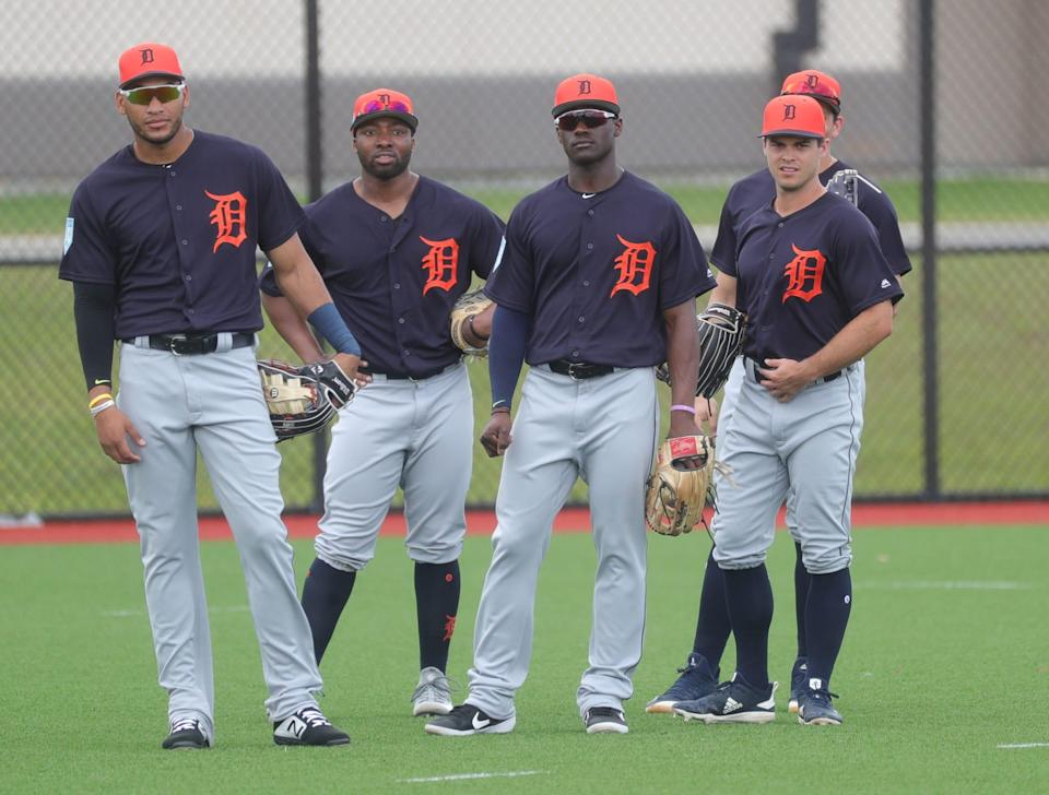 (From left) Tigers outfielders Victor Reyes, Christin Stewart, Daz Cameron and Jacob Robson in the outfield during spring training on Wednesday, Feb. 20, 2019, at Joker Marchant Stadium in Lakeland, Fla.