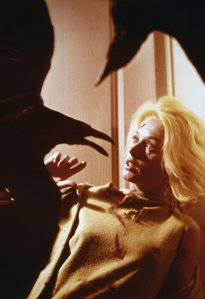 American actress Tippi Hedren on the set of The Birds, directed and produced by British Alfred Hitchcok. (Photo by Universal Pictures/Sunset Boulevard/Corbis via Getty Images)