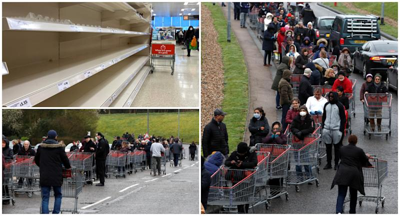 Shoppers queue outside a CostCo in Watford. (SWNS)