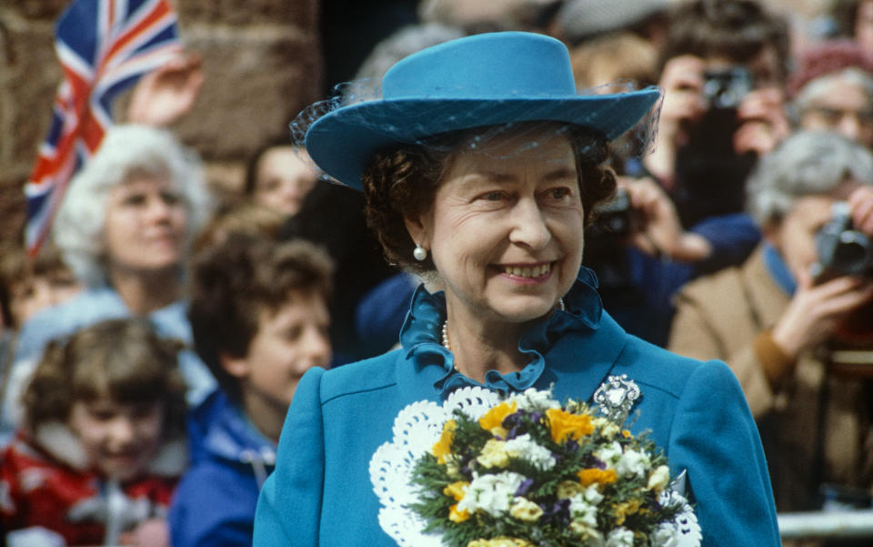EXETER - MARCH 31: Queen Elizabeth II  after the Maundy Service at Exeter Cathedral on March 31, 1982. (Photo by David Levenson/Getty Images)
