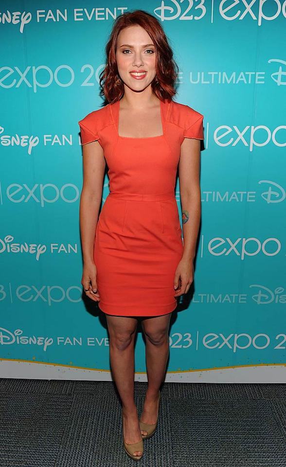 "Also spotted in a similar shade was screen siren Scarlett Johansson, who popped by Disney's D23 expo in a structured Roland Mouret ""Giselle"" dress, tussled auburn tresses, and taupe peep-toes. Alberto E. Rodriguez/<a href=""http://www.wireimage.com"" target=""new"">WireImage.com</a> - August 20, 2011"