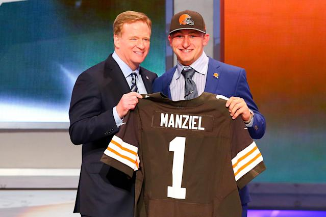 NFL commissioner Roger Goodell with Johnny Manziel after the Cleveland Browns selected Manziel with the 22nd overall pick of the 2014 NFL draft. (Photo by Rich Graessle/Icon SMI/Corbis/Icon Sportswire via Getty Images)
