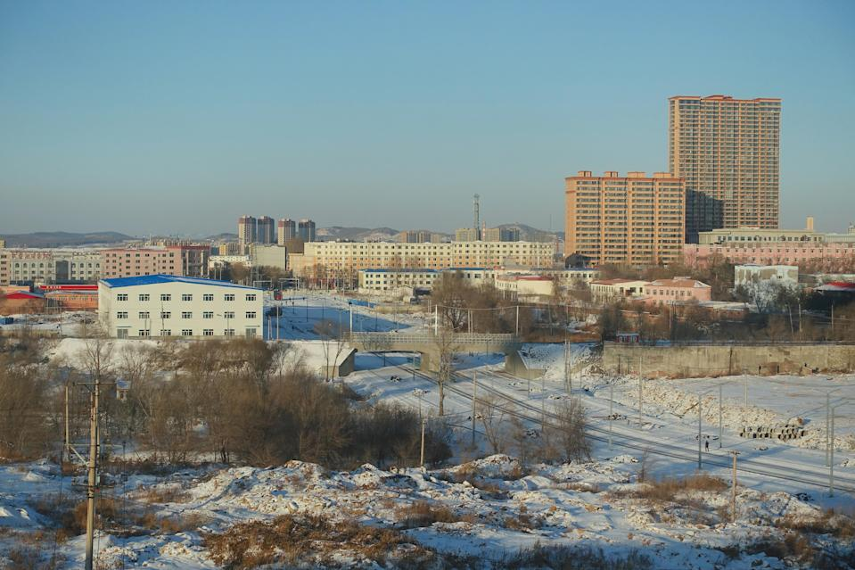 General view of the coal city of Hegang covered in snow
