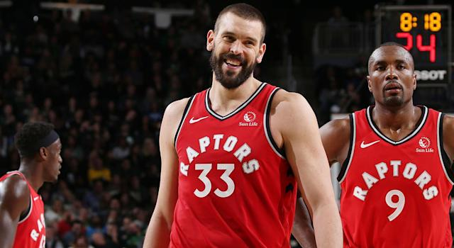 MILWAUKEE, WI - NOVEMBER 2: Marc Gasol #33 of the Toronto Raptors looks on during the game against the Milwaukee Bucks on November 2, 2019 at the Fiserv Forum Center in Milwaukee, Wisconsin. NOTE TO USER: User expressly acknowledges and agrees that, by downloading and or using this Photograph, user is consenting to the terms and conditions of the Getty Images License Agreement. Mandatory Copyright Notice: Copyright 2019 NBAE (Photo by Gary Dineen/NBAE via Getty Images).
