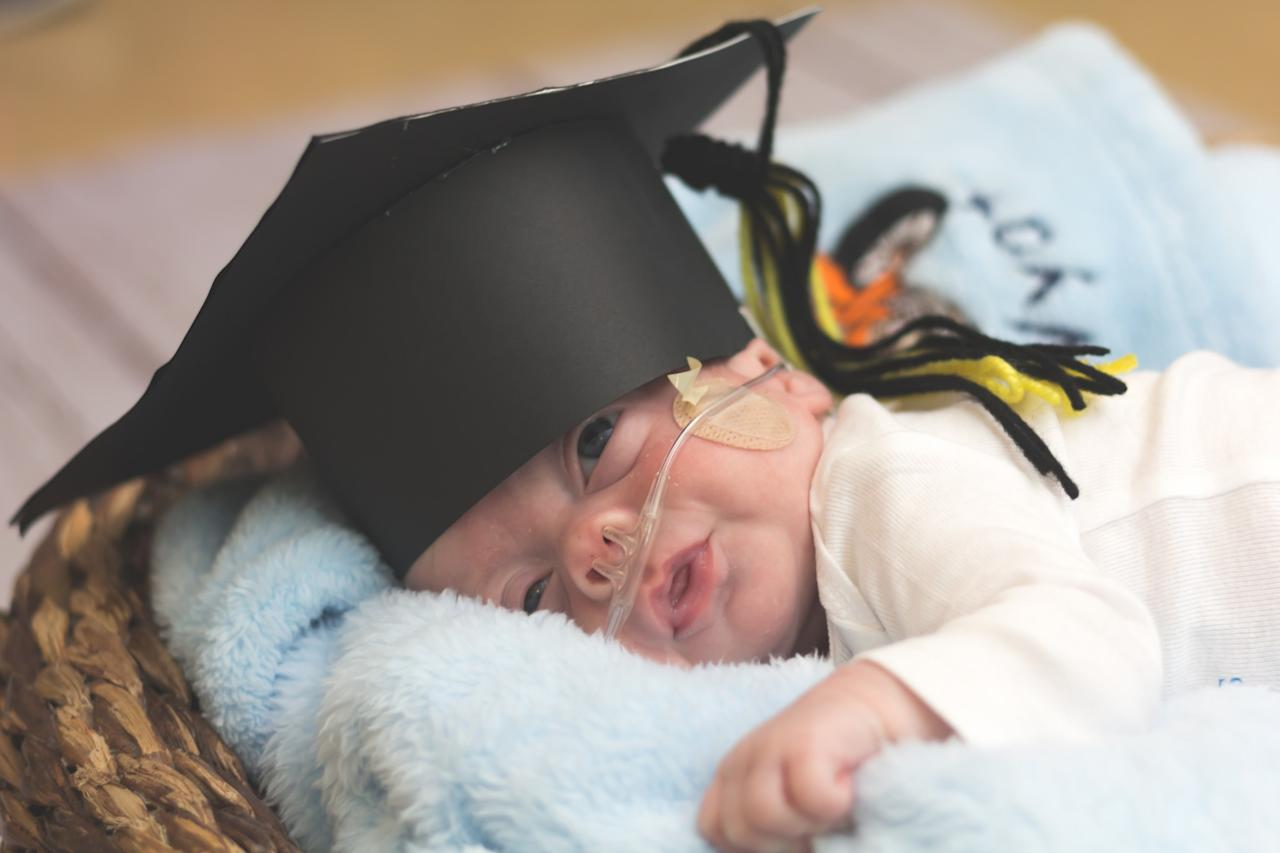 "<p>Hospital staff at <a rel=""nofollow"" href=""http://www.caromonthealth.org/Locations/Hospitals/CaroMont-Regional-Medical-Center.aspx"">CaroMont Regional Medical Center</a> in North Carolina have been holding mini graduation ceremonies for babies leaving the Neonatal Intensive Care Unit (NICU), who were born six or more weeks premature. Newborns admitted to the unit require intensive care, usually because they are born premature or sick, so the ceremonies are meant to mark major milestones in their young lives. <strong>Click through the gallery to see the cute grad portraits! </strong><em>(Photo via: <a rel=""nofollow"" href=""https://www.bellababyphotography.com/"">Bella Baby Photography</a>)</em> </p>"