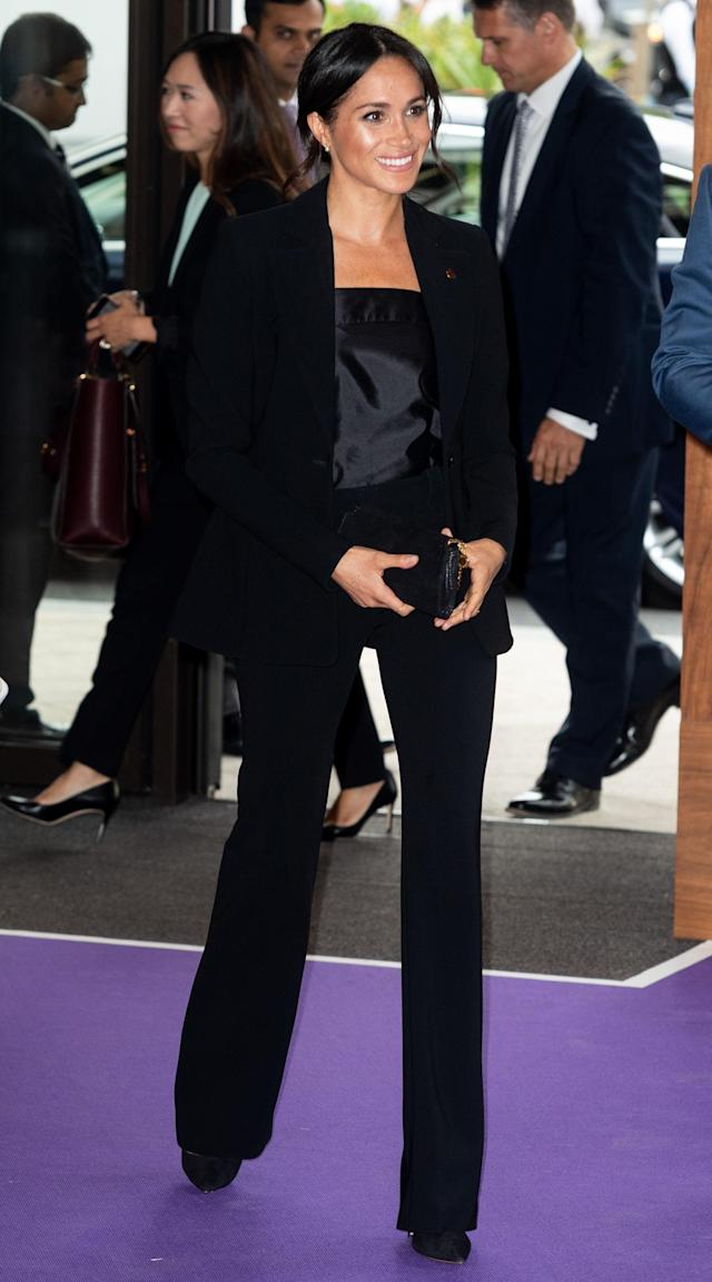 Continuing her suit streak, the former actress chose a slick Altuzarra co-ord for the red carpet event and accessorised the slick look with a Stella McCartney clutch and a silky blouse courtesy of Swedish label, Deitas. <em>[Photo: Getty]</em>
