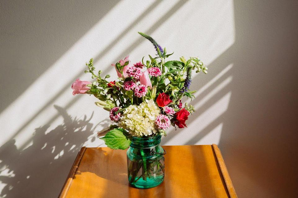 """<p>You can easily buy her flowers that will get delivered straight to her door. Nothing brightens up a room like a new bouquet. </p><p><a class=""""link rapid-noclick-resp"""" href=""""https://go.redirectingat.com?id=74968X1596630&url=https%3A%2F%2Fwww.1800flowers.com%2Fflowers-gifts-02022021&sref=https%3A%2F%2Fwww.delish.com%2Fholiday-recipes%2Fg35983198%2Fvirtual-mothers-day-ideas%2F"""" rel=""""nofollow noopener"""" target=""""_blank"""" data-ylk=""""slk:BUY FLOWERS"""">BUY FLOWERS</a></p>"""