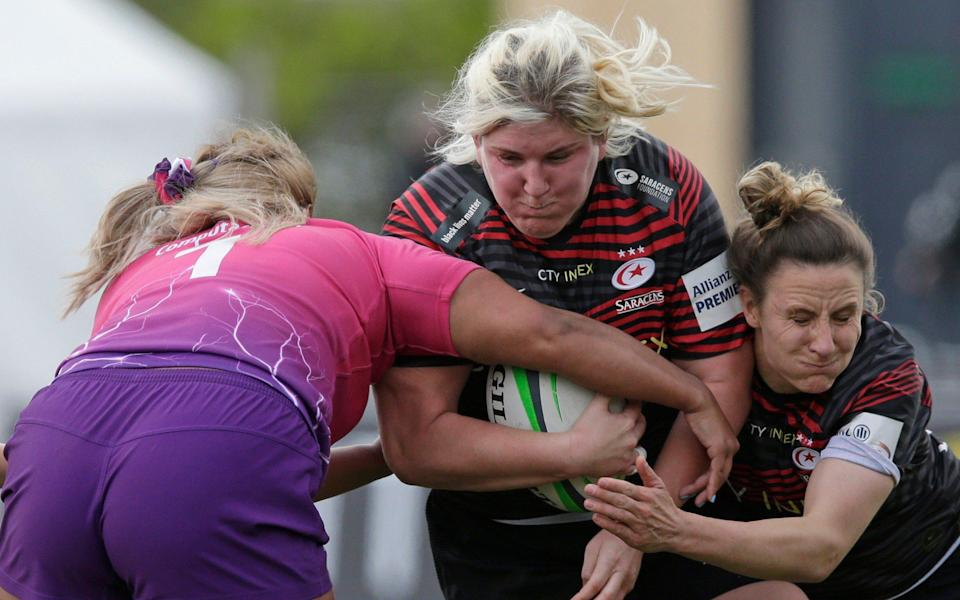Saracens' Bryony Cleall makes life hard for the Loughborough Lightning defence - GETTY IMAGES