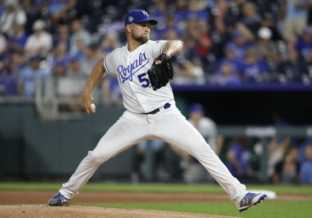Kansas City Royals pitcher Glenn Sparkman throws to a Toronto Blue Jays batter during the first inning of a baseball game at Kauffman Stadium in Kansas City, Mo., Thursday, Aug. 16, 2018. (AP Photo/Colin E. Braley)