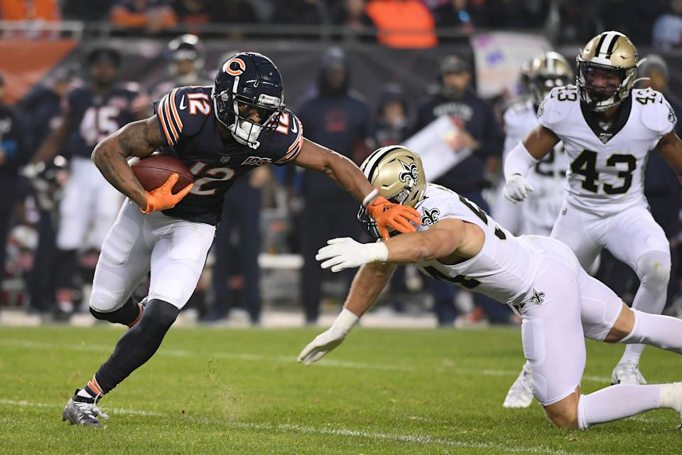 CHICAGO, IL - OCTOBER 20: Chicago Bears wide receiver Allen Robinson (12) battles with New Orleans Saints outside linebacker Kiko Alonso (54) in game action during a game between the Chicago Bears and the New Orleans Saints on October 20, 2019 at Soldier Field in Chicago, IL. (Photo by Robin Alam/Icon Sportswire via Getty Images)