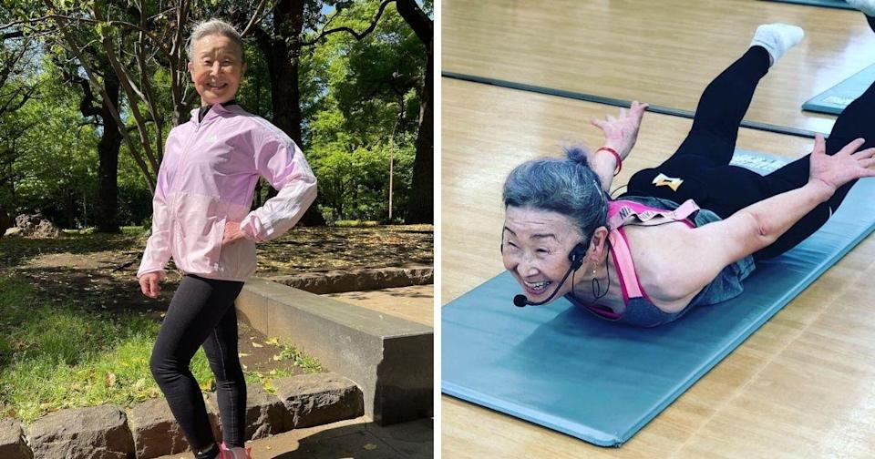 <p>For Takishima Mika, age is truly just a number. Despite turning 90, she continues to exercise daily and work as a fitness instructor at a gym. (Photos courtesy of @takimika_poweraging/Instagram)</p>