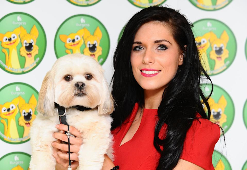 Pippa Langhorne and her dog Buddy arriving for the Wetnose Animal Awards held at the Carlton Tower hotel in London.   (Photo by Ian West/PA Images via Getty Images)