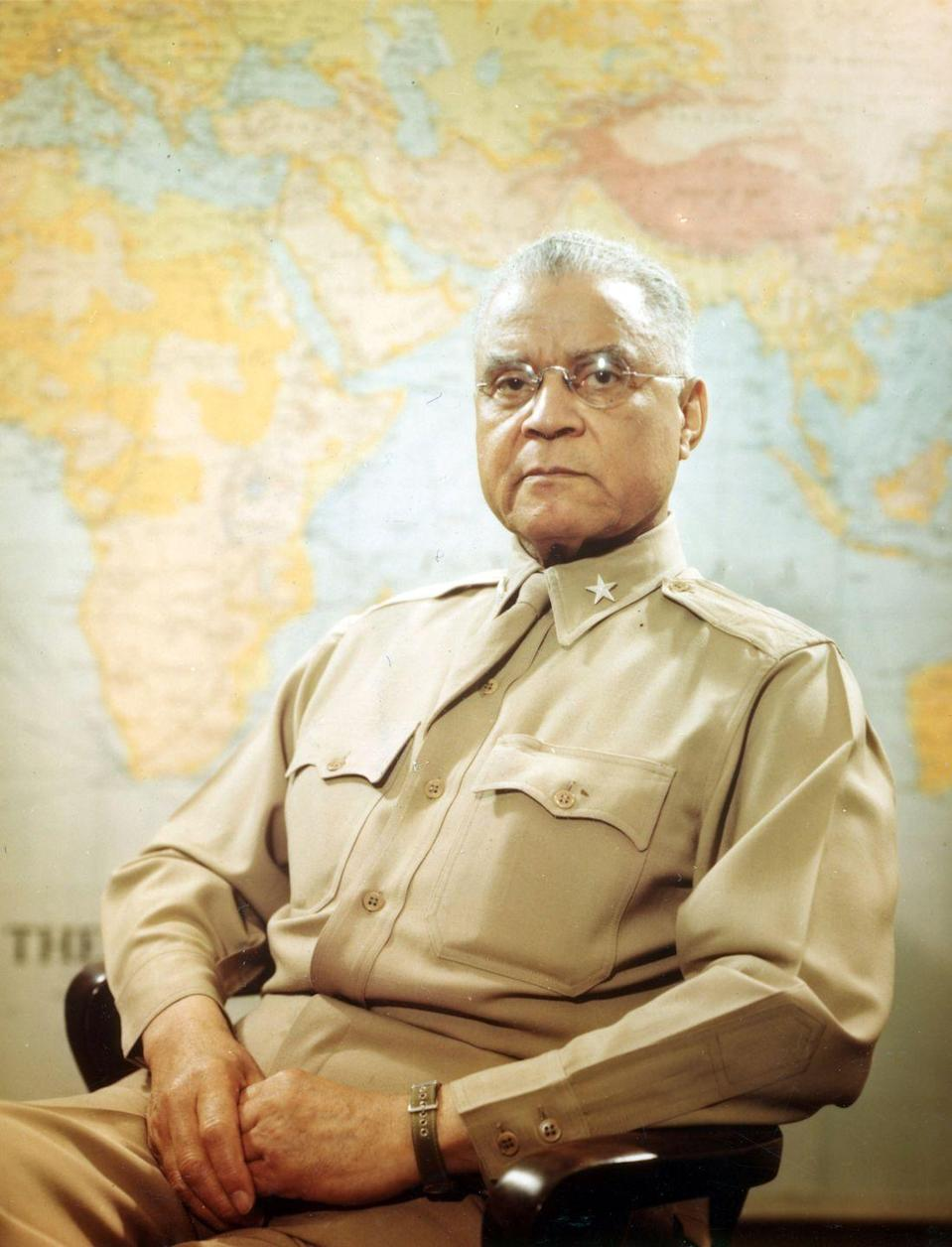 """<p>Benjamin O. Davis Sr. was the first Black general in the American military. He served for<a href=""""https://www.blackpast.org/african-american-history/davis-sr-benjamin-o-1877-1970-2/"""" rel=""""nofollow noopener"""" target=""""_blank"""" data-ylk=""""slk:50 years"""" class=""""link rapid-noclick-resp""""> 50 years</a> as a temporary first lieutenant at an all-Black unit during the Spanish American War. Throughout his service, Davis Sr. was as a professor of military science at Tuskegee and Wilberforce University, a commander of the 369th Regiment, New York National Guard, and special assistant to the Secretary of the Army. When he retired in 1948, President Harry Truman oversaw the public ceremony. Davis Sr. is buried at Arlington National Cemetery.</p>"""