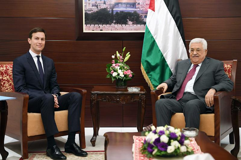 Jared Kushner meets with Palestinian President Mahmoud Abbas on June 21, 2017, in Ramallah, West Bank. (PPO via Getty Images)