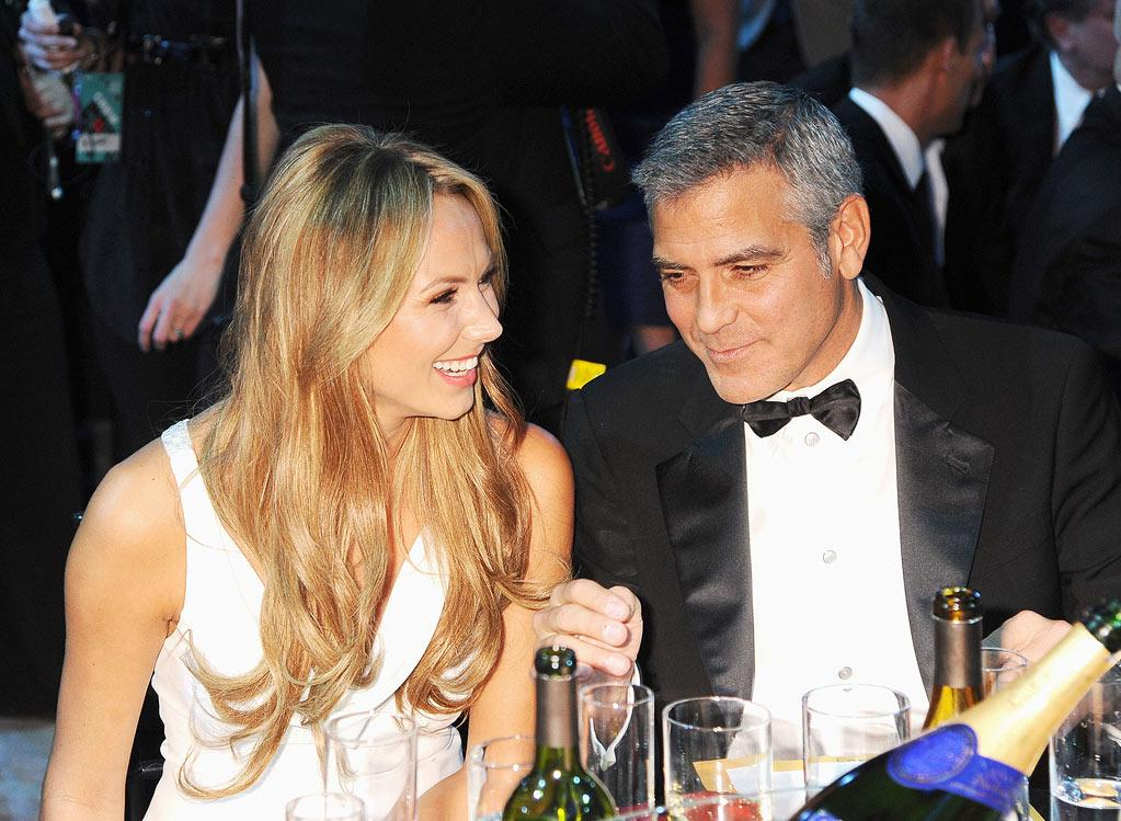 """<a href=""""http://movies.yahoo.com/movie/contributor/1808539914"""">Stacy Keibler</a> and <a href=""""http://movies.yahoo.com/movie/contributor/1800019715"""">George Clooney</a> at the 17th Annual Critics' Choice Awards reception in Hollywood on January 12, 2012."""