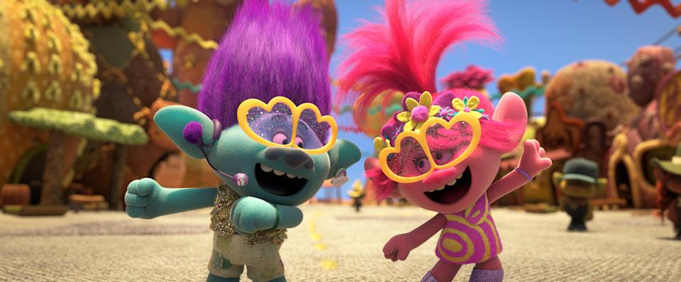 "Branch (voiced by Justin Timberlake, left) and Poppy (Anna Kendrick) break out the glitter for a pop medley in ""Trolls World Tour."""