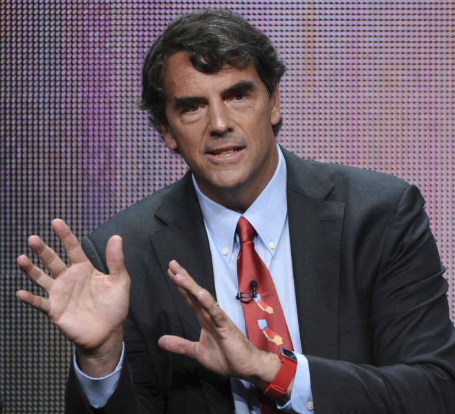 "FILE - In this Aug. 5, 2015 file photo, executive producer Tim Draper participates in the ""Startup U"" panel at the Disney/ABC Summer TCA Tour at the Beverly Hilton Hotel in Beverly Hills, Calif. Draper, the billionaire behind a proposal to split California in three says he's giving up on the effort after the state Supreme Court knocked it off the Nov. 2018 ballot. (Photo by Richard Shotwell/Invision/AP, File)"