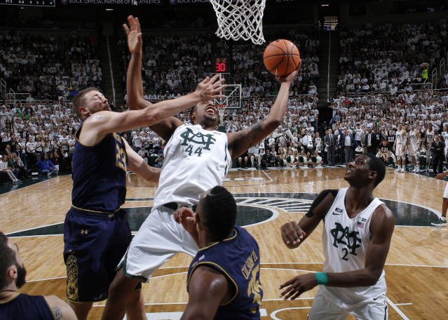 Michigan State built a 20-point halftime lead against Notre Dame in a top-five clash in East Lansing. (AP)