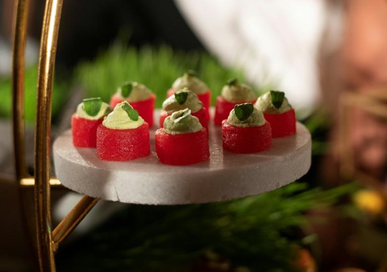 Compressed watermelon hors d'oeuvres are displayed at the Academy Awards Governors Ball press preview in Hollywood, California on January 31 (AFP Photo/VALERIE MACON)
