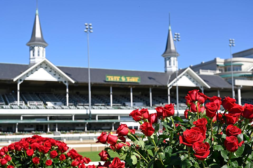 Roses adorn the Winners Circle for the 146th Kentucky Derby at Churchill Downs on Sept. 5, 2020.