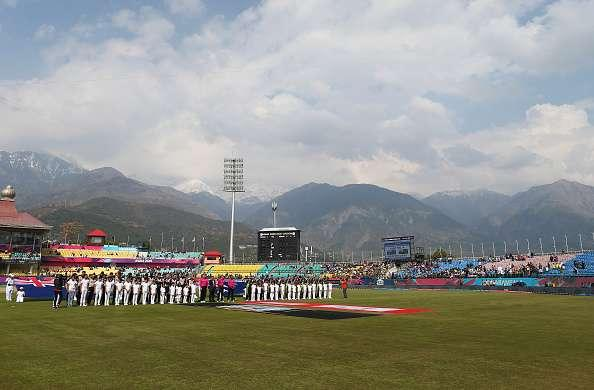 DHARAMSALA, INDIA - MARCH 18: The Teams line up for the anthems during the ICC World Twenty20 India 2016 Super 10s Group 2 match between Australia and New Zealand at HPCA Stadium on March 18, 2016 in Dharamsala, India. (Photo by Ryan Pierse/Getty Images,)