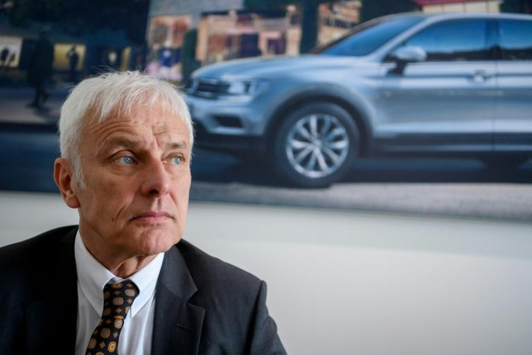 Matthias Mueller, the CEO of Volkswagen, looks on during an interview with AFP at the Geneva International Motor Show on March 7, 2017