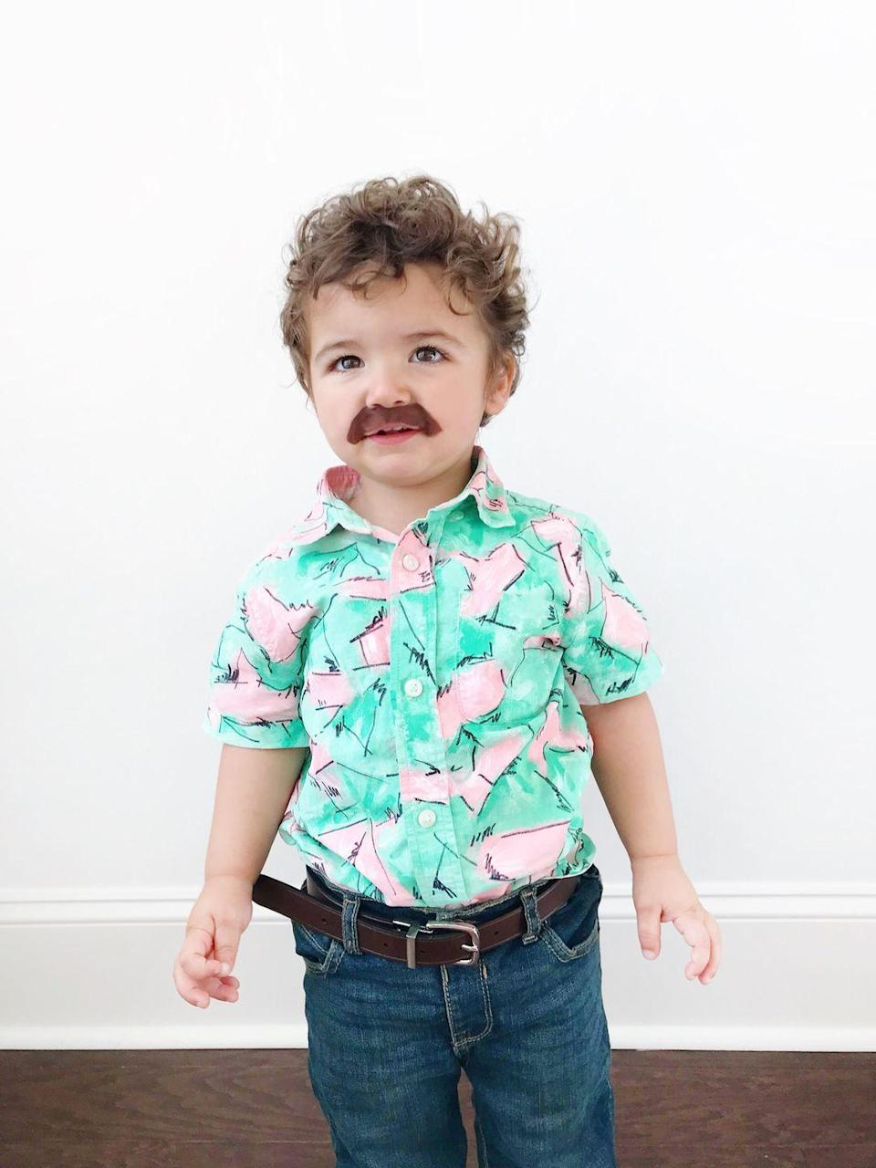 """<p>Sorry, we almost fainted for a second. No, the Demogorgon didn't leap out of the shadows—we nearly passed out upon seeing this <em>adorable</em> costume! Baby Hopper comes to life with a hand-painted shirt showcased on <em>Stranger Things 3</em> and a faux mustache. </p><p><strong>Get the tutorial at <a href=""""http://www.loveandlion.com/diy/diy-halloween-costume-baby-hopper-stranger-things/"""" rel=""""nofollow noopener"""" target=""""_blank"""" data-ylk=""""slk:Love & Lion"""" class=""""link rapid-noclick-resp"""">Love & Lion</a>. </strong></p><p><a class=""""link rapid-noclick-resp"""" href=""""https://www.amazon.com/gp/product/B011BV5X1C/?tag=syn-yahoo-20&ascsubtag=%5Bartid%7C10050.g.29398849%5Bsrc%7Cyahoo-us"""" rel=""""nofollow noopener"""" target=""""_blank"""" data-ylk=""""slk:SHOP FABRIC PAINT"""">SHOP FABRIC PAINT</a></p>"""