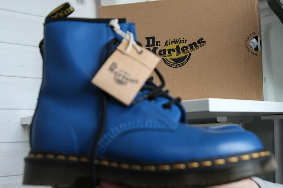 A pair of Dr. Martens 1460 Air Wair blue leather boots. Photo: Michal Fludra/NurPhoto via Getty Images