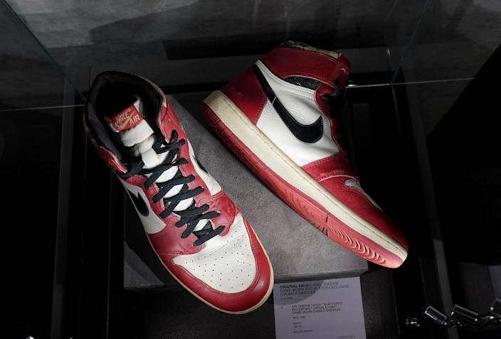 The  Air Jordan 1 High Shattered Backboard Origin Story, Game-Worn Signed Sneaker Nike, 1985 Size 13.5 High-Top on display during a press preview July 24, 2020 at Christie's New York. - Christies and Stadium Goods have partnered to offer a unique sneaker overview of Michael Jordans era-defining Chicago Bulls career. The auction  is online only 30 July13 August. (Photo by TIMOTHY A. CLARY / AFP) (Photo by TIMOTHY A. CLARY/AFP via Getty Images)