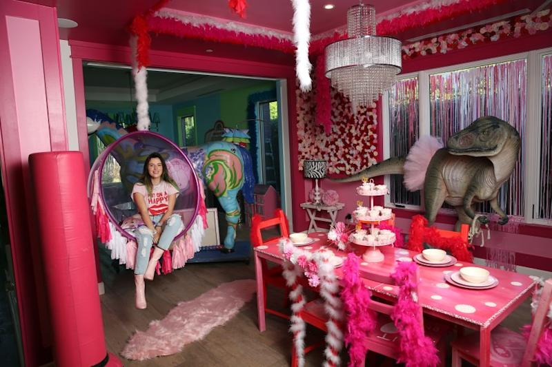 """LOS ANGELES, CA-OCTOBER 30, 2019: Actress Bella Thorne poses for a portrait in her """"pink room"""" which is the favorite room of her home in Sherman Oaks on October 30, 2019, in Los Angeles, California. (Photo By Dania Maxwell / Los Angeles Times)"""