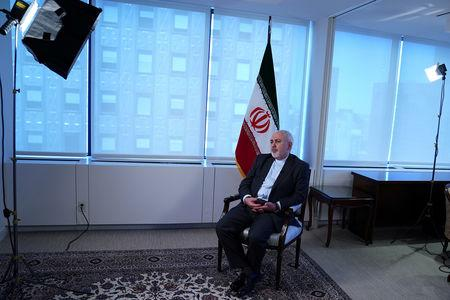 Iran's Foreign Minister Mohammad Javad Zarif sits for an interview with Reuters in New York, New York, U.S. April 24, 2019.   REUTERS/Carlo Allegri