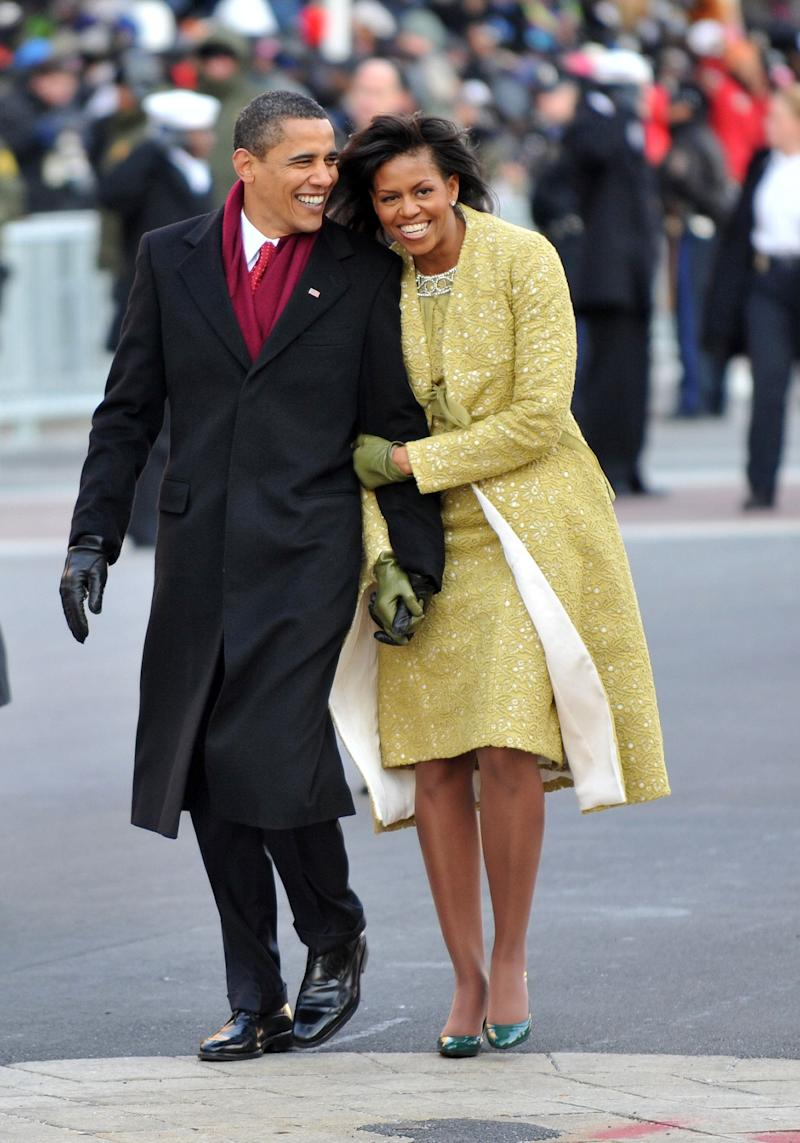She wore this matching dress and coat by Cuban-American designer Isabel Toledo for her husband's inauguration parade in 2009.