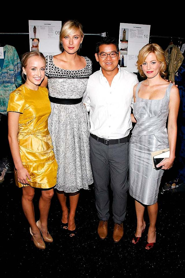 "Designer Peter Som posed backstage after his show with Olympic gold medalist Nastia Liukin, tennis star Maria Sharapova, and actress Elizabeth Banks. Joe Kohen/<a href=""http://www.wireimage.com"" target=""new"">WireImage.com</a> - September 8, 2008"
