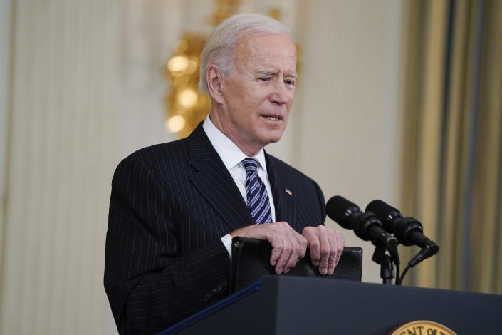 President Joe Biden delivers remarks about vaccinations, in the State Dining Room of the White House, Tuesday, April 6, 2021, in Washington. (AP Photo/Evan Vucci)