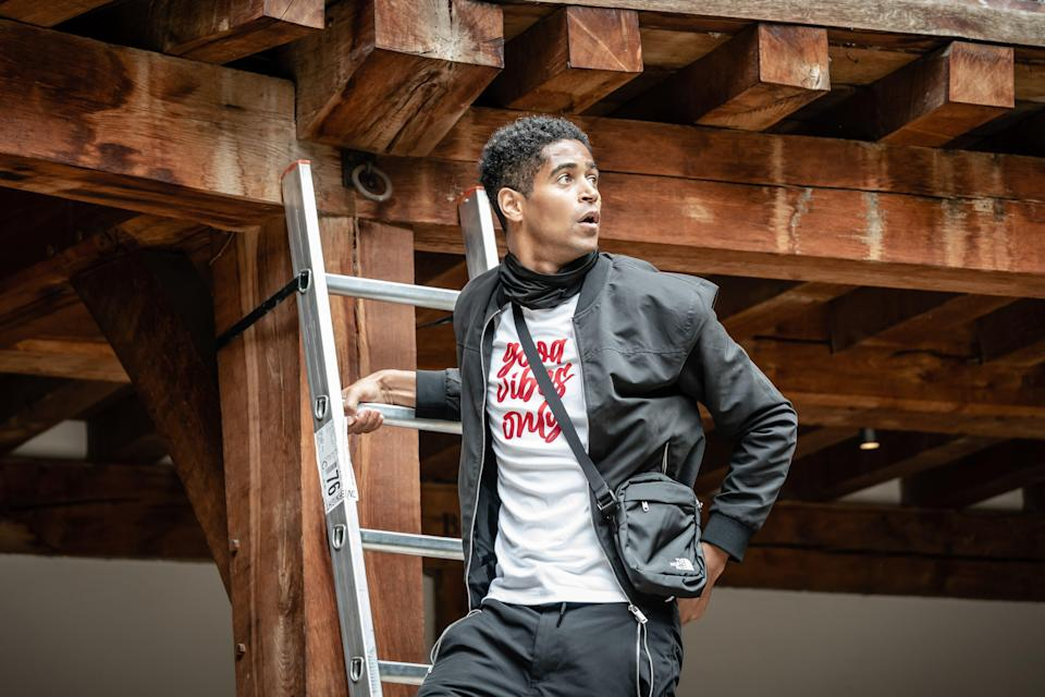 Alfred Enoch as Romeo at Shakespeare's Globe (Marc Brenner)