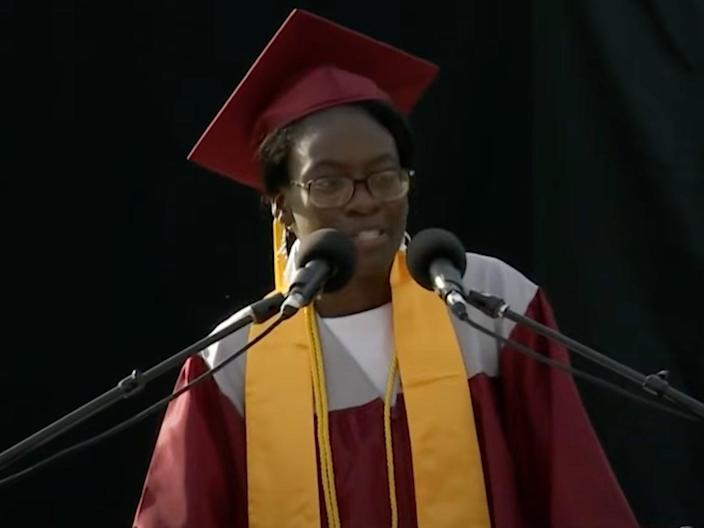 """Verda Tetteh asked that her """"General Excellence"""" award be given to student going to community college.  (Fitchburg Access Television)"""
