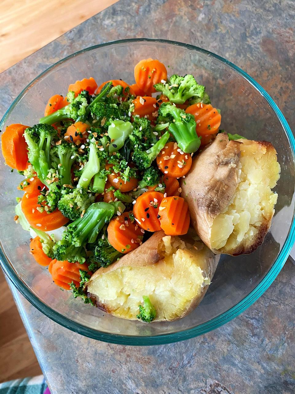 <p>This is my go-to and absolute favorite lunch (and sometimes breakfast!). I batch prep a bunch of Japanese sweet potatoes (the one with the darker maroon skin and white flesh) so I have them for three or four days. I love to pair them with steamed broccoli, cauliflower, and carrots with a sprinkling of Everything but the Bagel seasoning. It's so yummy! To make this even more satiating, I'd add some chickpeas or black beans on top.</p>