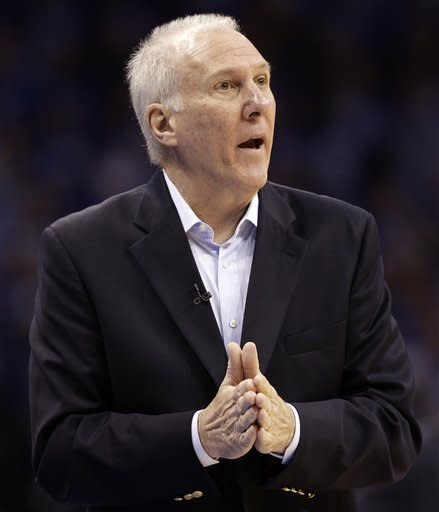 San Antonio Spurs head coach Gregg Popovich reacts to action against the Oklahoma City Thunder during the first half of Game 3 in their NBA basketball Western Conference finals playoff series, Thursday, May 31, 2012, in Oklahoma City. (AP Photo/Eric Gay)