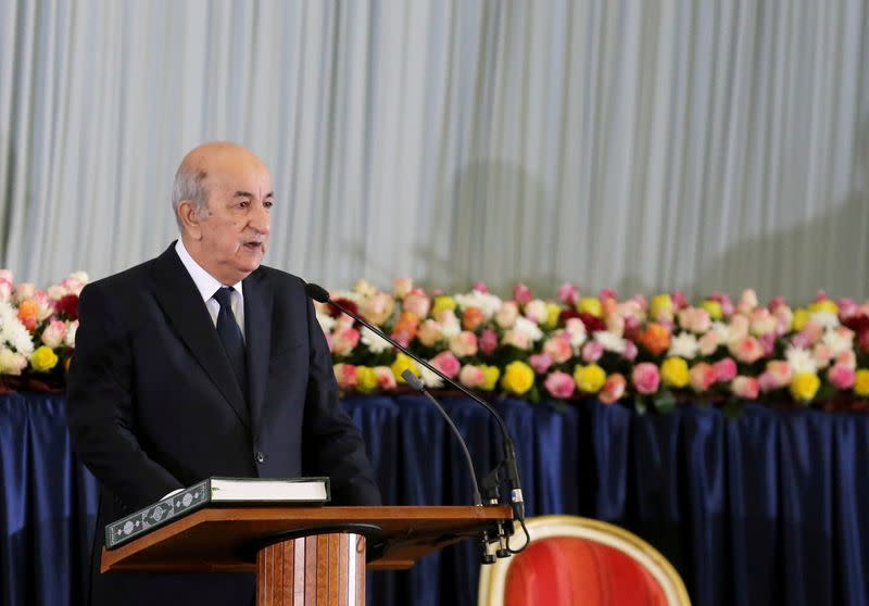 FILE PHOTO: Newly elected Algerian President Abdelmadjid Tebboune takes the oath during a swearing-in ceremony in Algiers