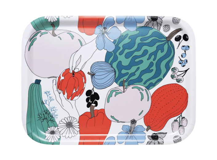 """With its illustrations of fruits and veggies, this Marimekko tray feels like a perfect summer serving item. Corral your utensils or set out your cheeses on this birch beauty. $38, Nordstrom. <a href=""""https://www.nordstrom.com/s/marimekko-tarhuri-laminated-wood-tray/5821343?origin=category-personalizedsort&breadcrumb=Home%2FHome%2FTabletop%2FServeware&color=100"""" rel=""""nofollow noopener"""" target=""""_blank"""" data-ylk=""""slk:Get it now!"""" class=""""link rapid-noclick-resp"""">Get it now!</a>"""