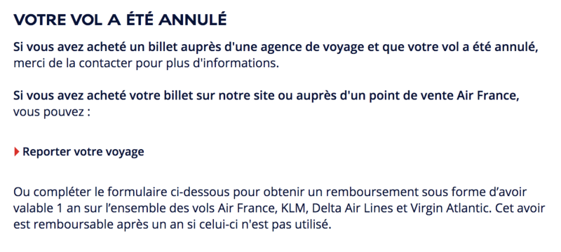 Le message d'Air France en cas de vol annulé
