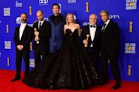 """The cast of HBO drama """"Succession"""" are seen here at the Golden Globes in January 2020, when the show took home honors for best drama and another for best lead drama actor for Brian Cox (2nd from right) -- they are hoping to do the same at the Emmys"""