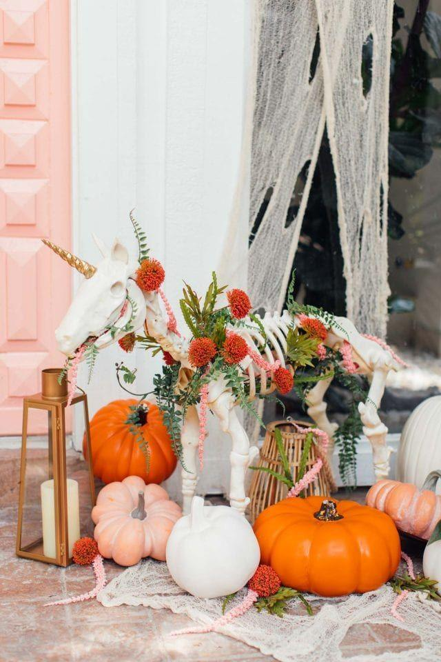 "<p>How fun is this front porch Halloween decor? <a href=""https://sugarandcloth.com/halloween-door-decor-3-not-so-spooky-front-door-decor-ideas/"" rel=""nofollow noopener"" target=""_blank"" data-ylk=""slk:Sugar and Cloth"" class=""link rapid-noclick-resp"">Sugar and Cloth</a> spiced up a store-bought skeleton with seasonal florals, greenery, and a gold unicorn horn for a more whimsical as opposed to scary Halloween decor. </p><p><a class=""link rapid-noclick-resp"" href=""https://www.target.com/p/halloween-sonic-realistic-skeleton-cat/-/A-51199708"" rel=""nofollow noopener"" target=""_blank"" data-ylk=""slk:BUY NOW"">BUY NOW</a> <strong><em>Skeleton Cat, $17</em></strong></p>"
