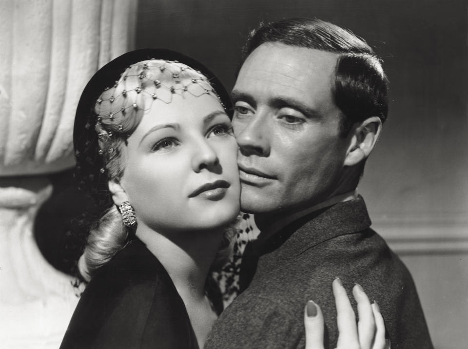 Actors Mel Ferrer and Stern Miroslava in a romantic scene from the movie